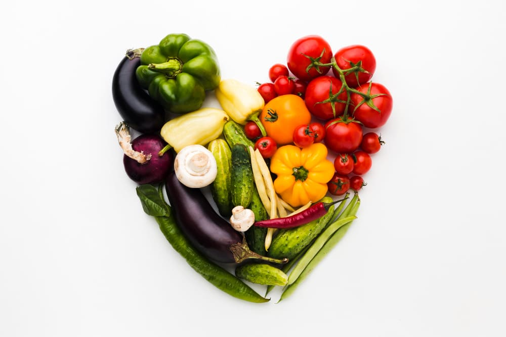 fruit and vegetables in shape of a love heart